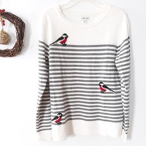 Stripped sweater with birds size S